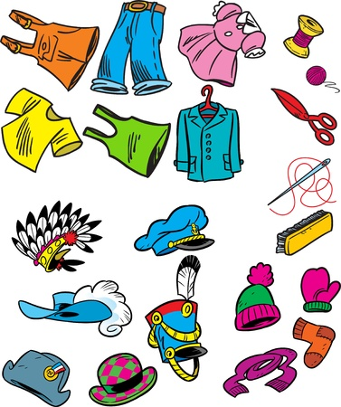 mitten:  The figure shows some types of hats, clothing and sewing in a cartoon style.Drawing done on separate layers.