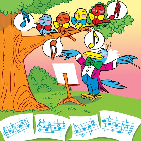 The illustration nightingale teaches singing chicks Vector
