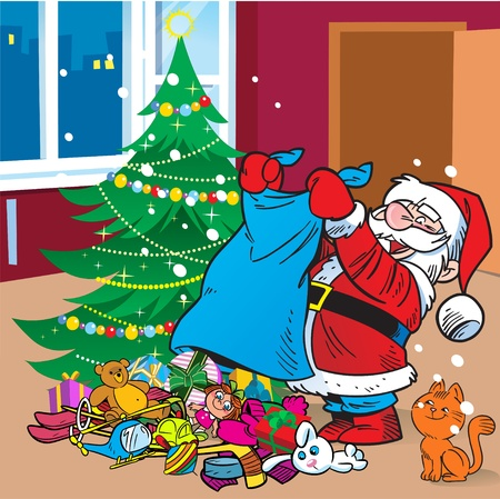 The illustration depicts Santa Claus, who brought the bag with gifts under the Christmas tree.Illustration done on separate layers. Vector
