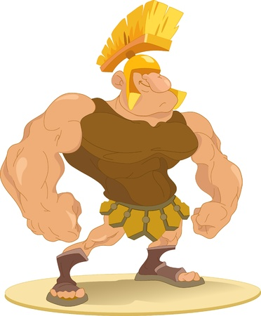 gladiator: The figure shows male-Roman gladiator wearing a helmet.Illustration done in cartoon style.