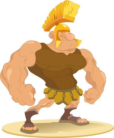 cartoon warrior: The figure shows male-Roman gladiator wearing a helmet.Illustration done in cartoon style.