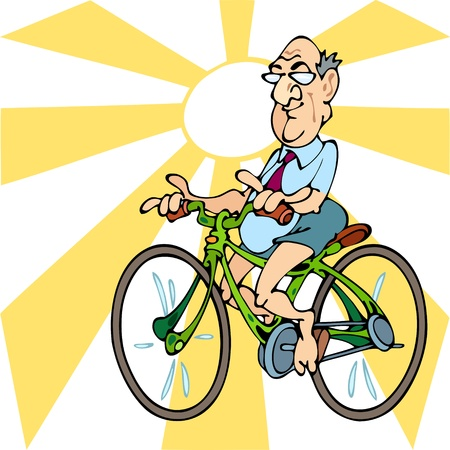 An elderly man wearing shorts goes to bike.Illustration run on separate layers Stock Vector - 10836212