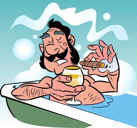L'illustration représente un homme prenant une bath.He titulaire d'un verre de vin et fumer une cigar.Illustration fait dans le style des comics.