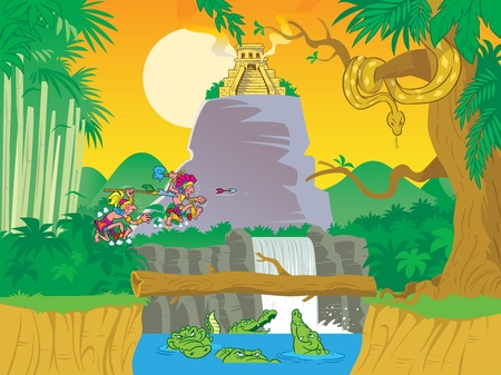 The illustration presents tropical jungle.In the figure a lot of trees, plants and rocks, a lake with alligators, on the hill stands a religious temple.Two Indians, running through the grass, holding their weapons.Illustration done in cartoon style, on se