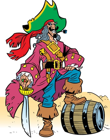 scarf beach:  Illustrations are man-pirate, he is dressed in a beautiful rich clothes.It relies on a barrel of wine with his foot.