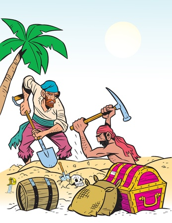 pick: Two men pirates found on the banks of the treasure.They dig up the chests.Illustration done in cartoon style.