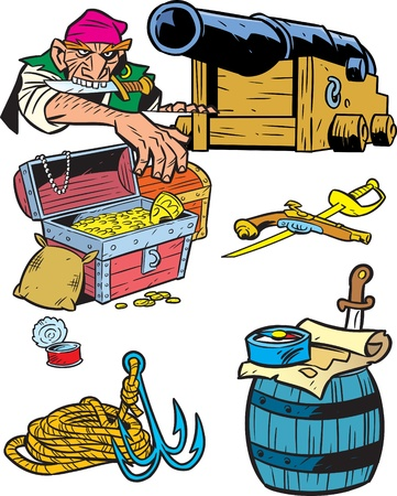 The illustration presented a male pirate near the gun and several pirate attributes.Illustration done in cartoon style on separate layers. Vector