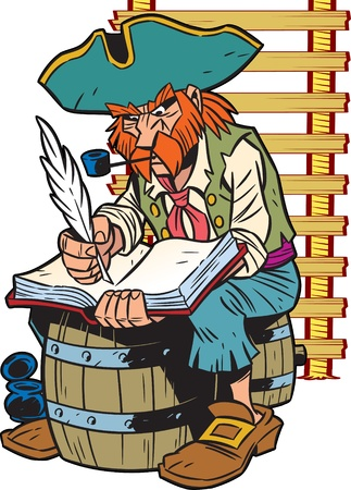 captain:  The illustration presented a pirate captain.He sits on the barrel and makes an entry in the logbook.Illustration done in cartoon style.