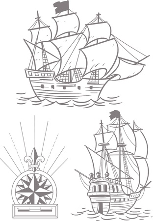 historical ship:  The illustration shows two old ship with sails and a symbol of the wind rose.illustration done on separate layers with gray. Illustration