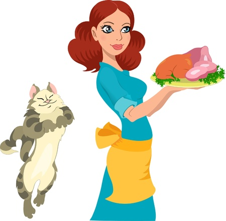 meat food: Young housewife holds a food on a tray.Cat asks her treats.