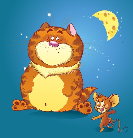 The illustration shows a large red cat with a small funny little mouse. They talk under the moon at night about tasty food.