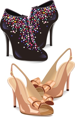 The illustration shows two types of shoes. Black shoes with decorations and beige sandals. Vector