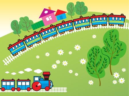 szynach: Ilustracja przedstawia rysunek pociągu i lokomotywy w pobliżu dworca.