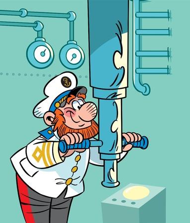 submarino: La ilustraci�n presenta el capit�n del submarino. �l mira a trav�s del periscopio.