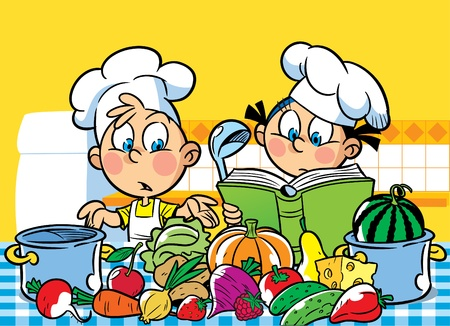The illustration shows a boy and a girl. They cook in the kitchen.