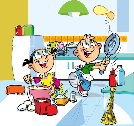 pans: In the kitchen  cartoon boy and girl are fried pancakes. Illustration