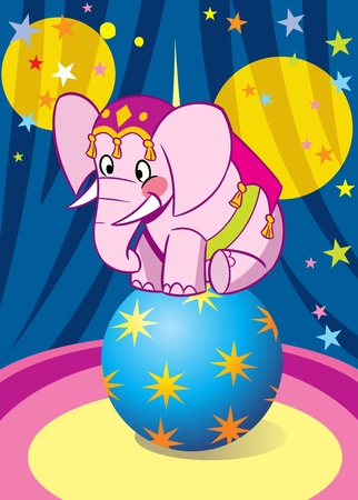 Pink baby elephant performance in circus. He is dancing on the big blue ball.Illustration done on separate layers. Vector