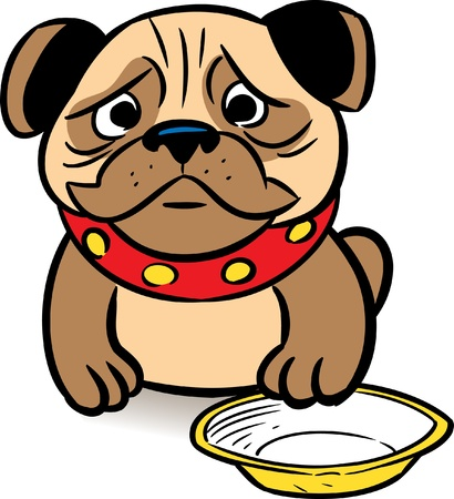 The picture shows a sad puppy pug asks a meal in a bowl.Illustration is presented in cartoon style, on a white background.