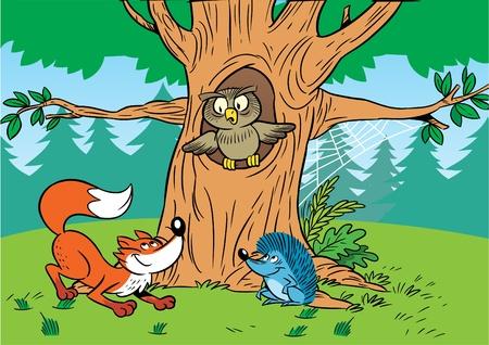 ocas: En los animales de dibujos animados en el bosque. Vectores