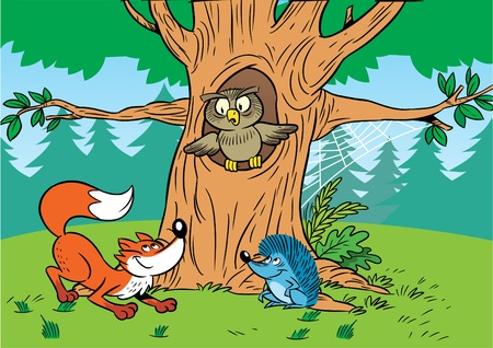 In the illustration cartoon animals in the forest.
