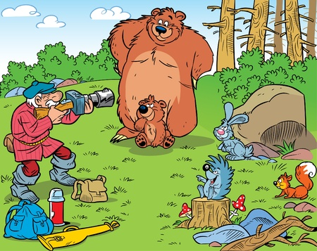 The illustration shows a hunter photographing wild animals. Illustration done in an amusing cartoon style.