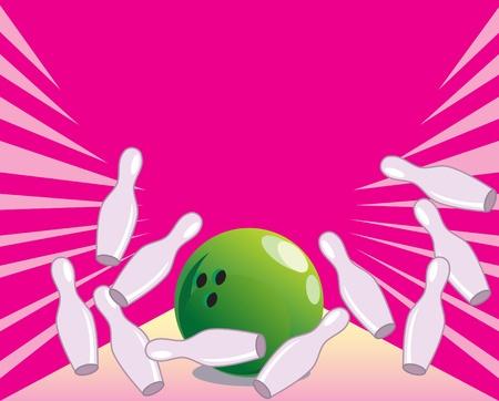 quilles: L'illustration montre la salle de bowling, boule et les quilles. Illustration