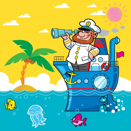 Cartoon captain on a ship sailing on the sea .. He looks through his binoculars. Against the backdrop of beach and palm trees. Ilustrace