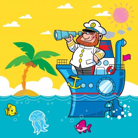 kijker: Cartoon kapitein op een schip varen op de zee .. Hij kijkt door zijn verrekijker. Tegen de achtergrond van strand en palmbomen.