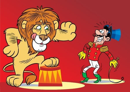 The illustration shows the tamer and the lion performing the trick. Vector