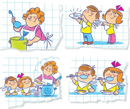 childrens food: Mother pours cooked soup in a dish and feed children Illustration