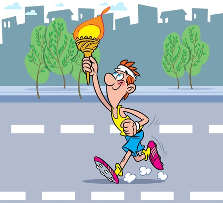 The athlete runs down the road. He is holding the Olympic torch. Vector