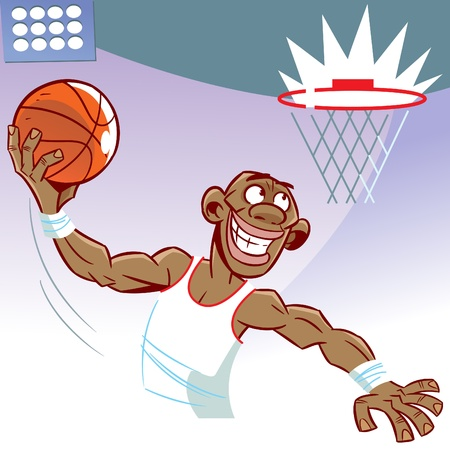 The illustration shows a black man basketball player. He throws the ball into the ring.