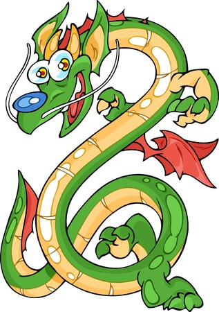 a legend of magic: The illustration shows the long dragon. The dragon is smiling and he has a paws, wings and couple horns.
