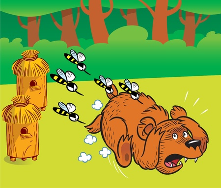The illustration shows a bear in the apiary.Angry bees from the hive chases a bear. Vector