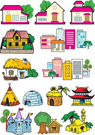 The illustration shows the houses in which people live.Each house is on a separate layer. Vector