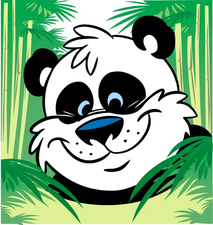 The illustration shows a funny cartoon panda in bamboo Stock Vector - 11494017