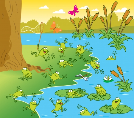 The illustration shows a pond with frogs on a sunny summer day. Picture made in cartoon style Vector