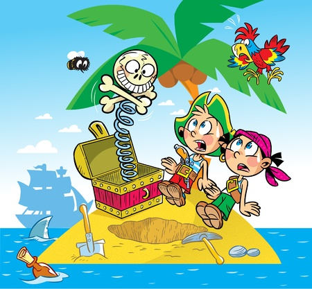 gold shovel: The illustration shows the fun of children. They play pirates.They found a toy instead of treasure. Illustration