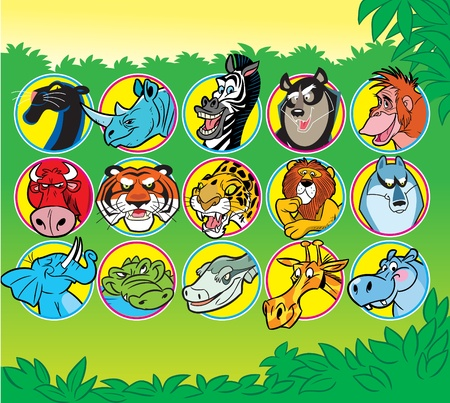 The illustration shows some species of animals of Africa. Illustration done in a cartoon stile.  矢量图像