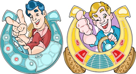 drivers: The illustration shows the mascots with happy drivers in the horseshoe stylized cars