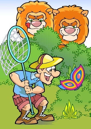 naturalist: The illustration shows a fun tourist who catches a moth.Behind him are watching with interest the lions.Illustration done in cartoon style. Illustration