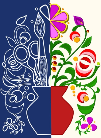 applique flower: The illustration shows how to create color applique.The composition consists of a sketch, colored parts and tools. Illustration done on separate layers.