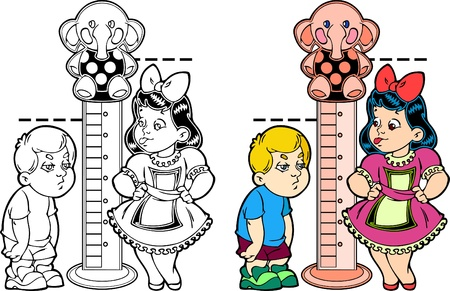 Figure shows cartoon boy and girl, measuring growth. The picture shows the development of children. Illustration done in the style of coloring book. Black and white, as well as color version and on separate layers.  Vector