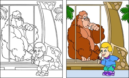cartoon zoo: A small child at the zoo is considering a monkey. The boy eating ice cream.Illustration done in the style of coloring book. Black and white, as well as color version and on separate layers.  Illustration