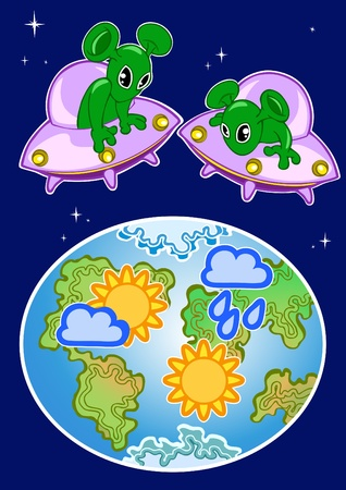 The illustration shows the space aliens who are watching the weather on planet Earth.Illustration done in cartoon style, on separate layers. Vector
