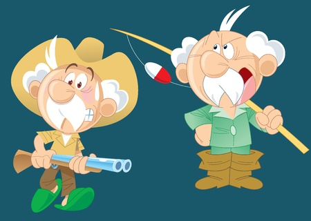 Die Abbildung zeigt einen aktiven älteren Mann, der Jagd und fishing.Illustration auf separaten Ebenen mit einem Cartoon-Stil getan geht.