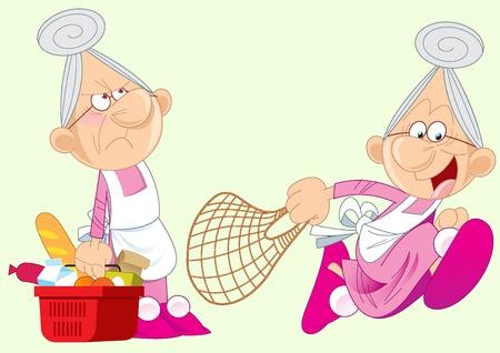 abuela: La ilustración muestra la abuela, que se apresura a la tienda. Compró comida. Ilustración realizada en capas separadas con un estilo de dibujos animados.