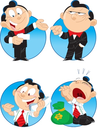 cartoon work: The illustration shows a few characters managers. These are men, they do business.
