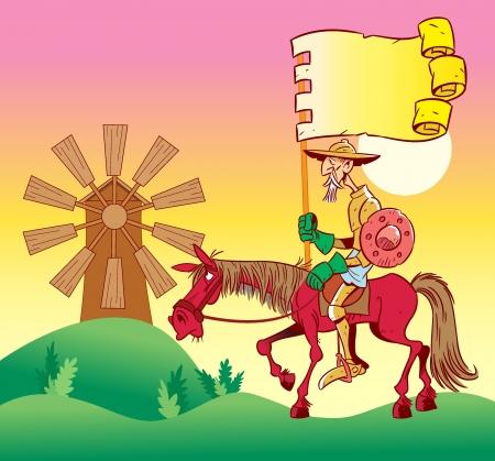 En la ilustración, Don Quijote a caballo, va a windmills.Illustration hecho en estilo de dibujos animados. Ilustración de vector
