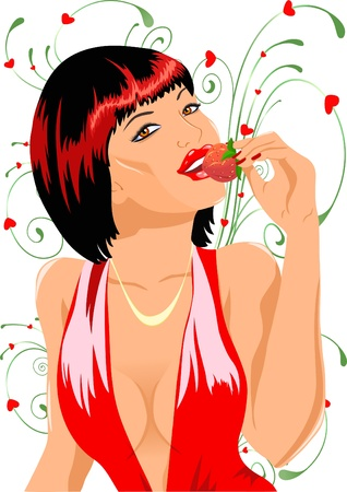 eats: The illustration shows a young, beautiful, sexy girl who eats strawberries.